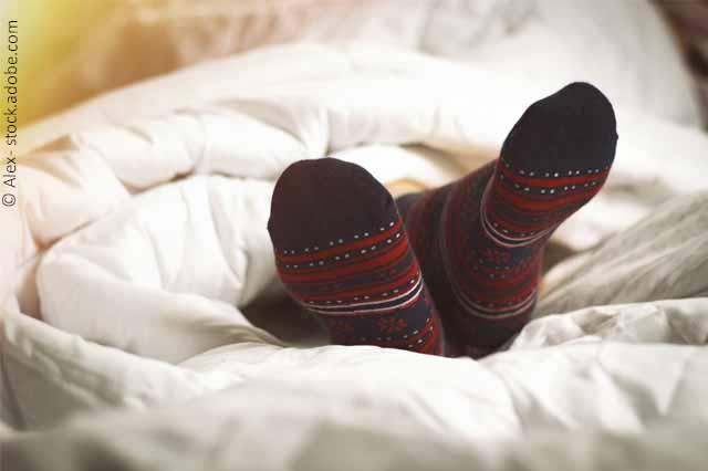 Wollsocken Im Bett